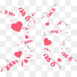 矢量手绘彩色粉色漂浮彩带