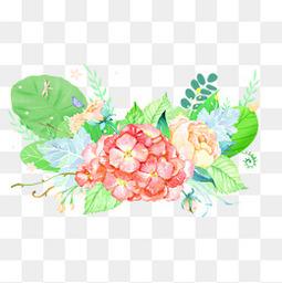 小清新手绘水彩花装饰图案