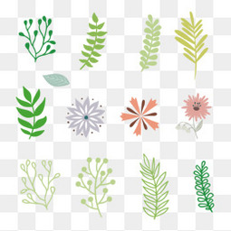 夏至小清新树叶元素