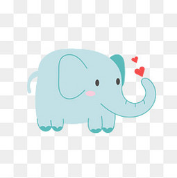 蓝色可爱的大象动物设计
