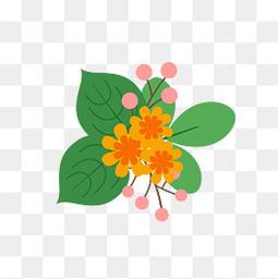夏至小清新树叶花朵元素