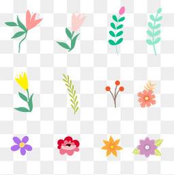 夏至小清新花朵叶子元素
