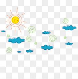 卡通天空云朵云太阳