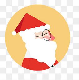 创意圣诞节圣诞老人侧脸矢量