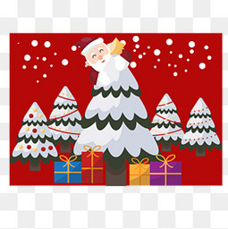 创意装饰松树的圣诞老人插画