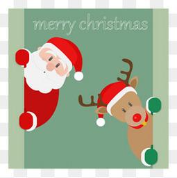 矢量圣诞老人和鹿
