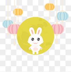 矢量可爱兔中秋节