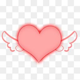 翅膀心形png素材