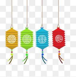 卡通中国风彩色的灯笼设计