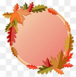 创意秋季树叶装饰圆环矢量