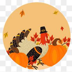 彩绘感恩节火鸡和南瓜标签