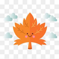 可愛楓葉秋季的落葉和云朵設計