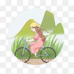 骑单车绿色可爱女孩节日郊游
