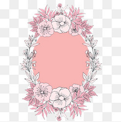 水彩手绘花环设计