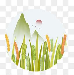 傳統節氣稻穗小滿元素