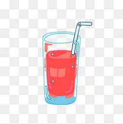 手繪夏日清涼晶瑩剔透果汁