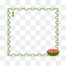 绿色可爱西瓜边框