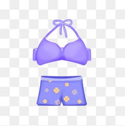 紫色游泳短裤比基尼
