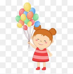 手绘手拿气球可爱女孩