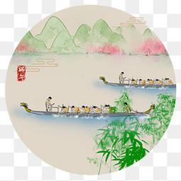 中国风端午龙舟元素免扣图