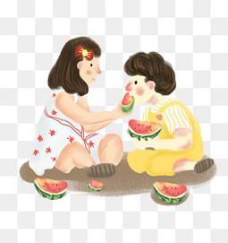 卡通手绘24节气吃西瓜