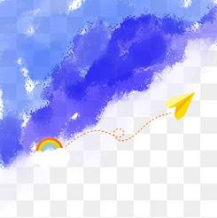 水彩蓝色纸飞机背景毕业季