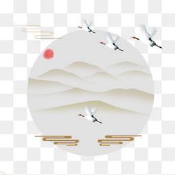 中国风仙鹤插画设计