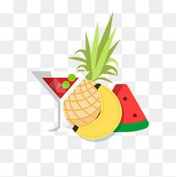 西瓜水果矢量夏天元素