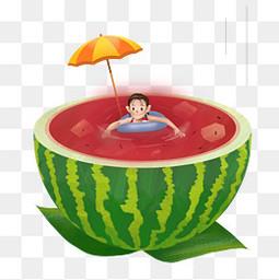 西瓜小男孩游泳手繪透明圖