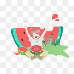 可爱女孩吃西瓜夏天免扣图