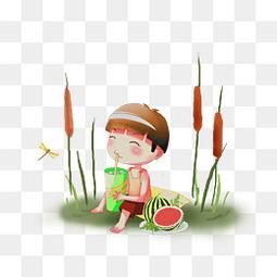 夏天小男孩吃西瓜免扣圖