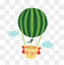 西瓜热气球卡通手绘免扣图