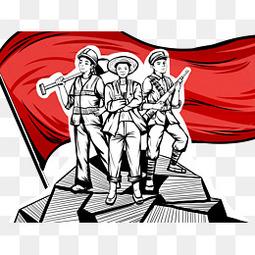 五一劳动节工人战士红旗素材