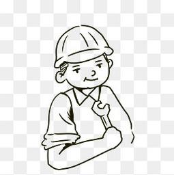 建筑工人老师傅简笔画形象