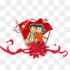 劳动节插画红旗