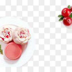 中秋节甜美精致糕点月饼樱桃下午茶精美创意素材