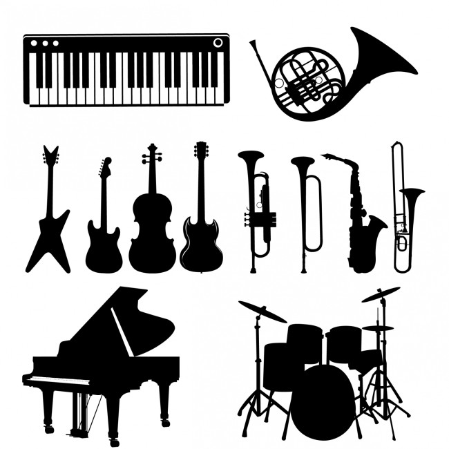 乐器黑白矢量图图片