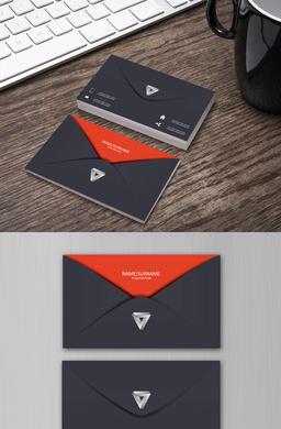 个人名片商务名片科技信封书籍黑红创...