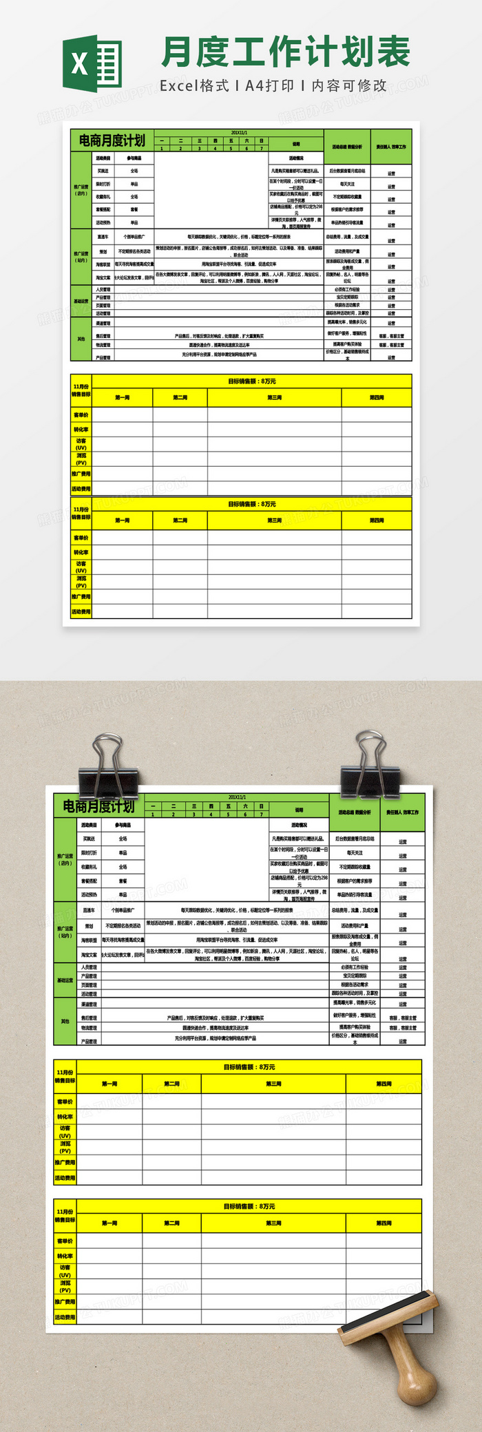 月度运营工作计划excel表格模板