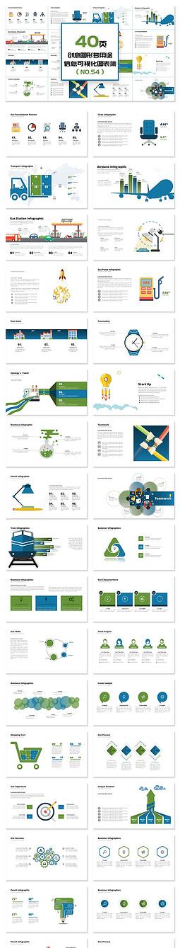 40页创意图形多用途信息可视化PPT图表