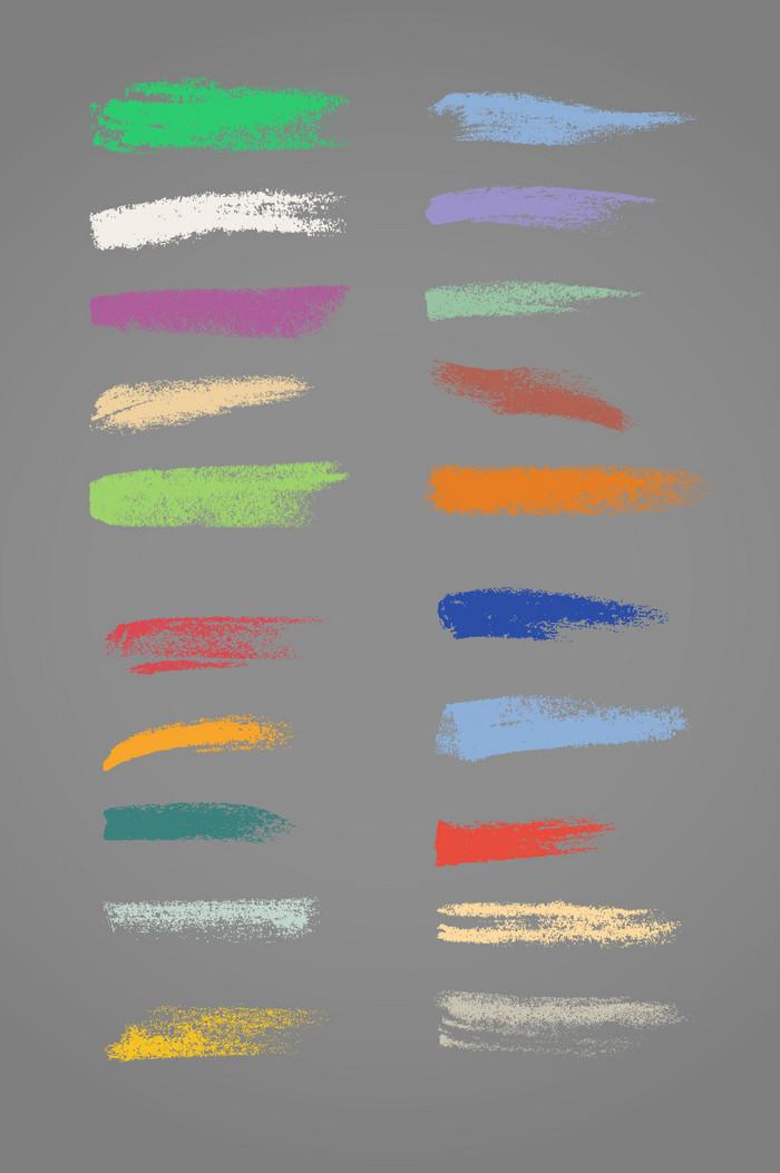 彩色线条笔刷模板