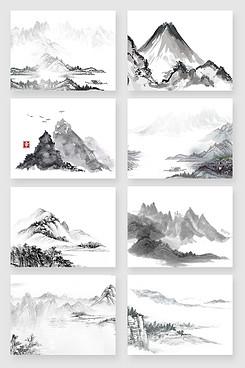 黑白中国风山水水墨画素材