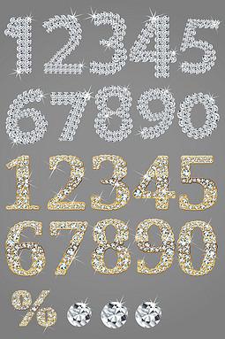 钻石数字元素矢量图形