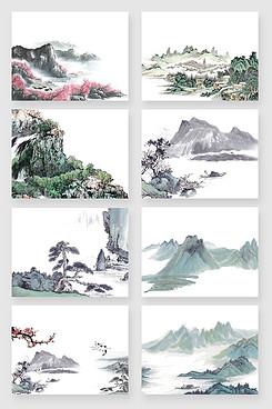 水彩水墨国画风景手绘素材