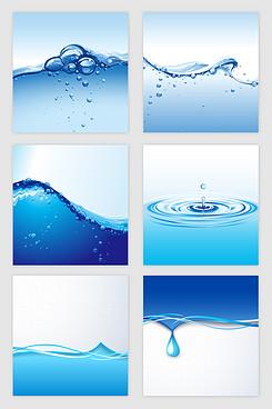 梦幻蓝色水滴水波矢量素材