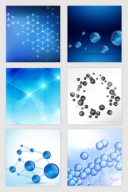 蓝色科技分子光效矢量素材