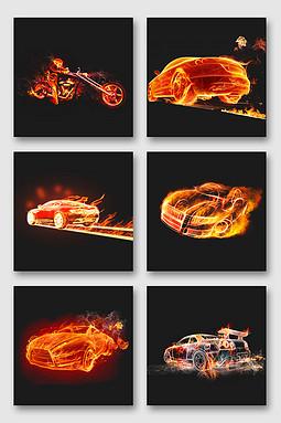 火焰汽车png设计素材