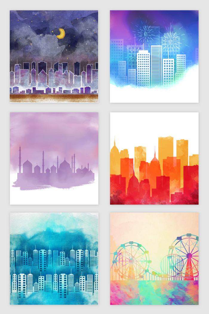 手绘水彩水墨城市风景元素