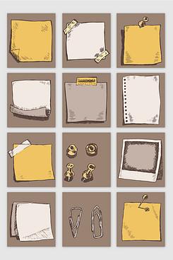 手绘风格仿旧撕纸效果矢量元素