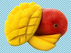 被切开的芒果免抠png透明图层素材